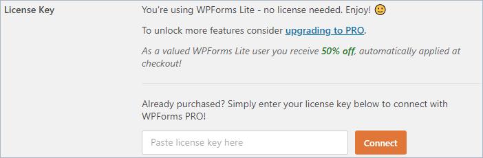 WPForms add license key