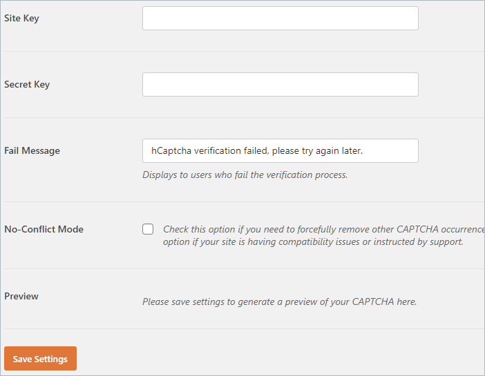 hCaptcha settings in WPForms