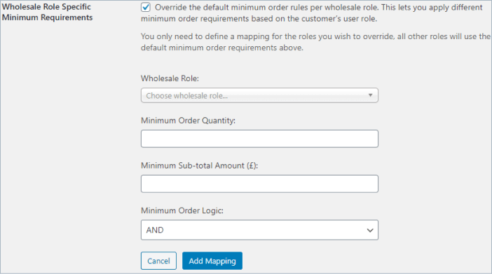 woocommerce wholesale suite minimum order amount and quantity using wholesale role