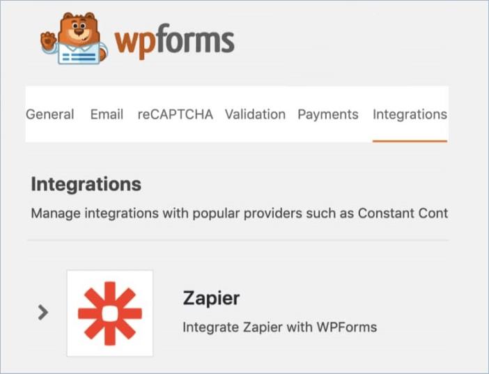 Open the WPForms integration settings for Zapier