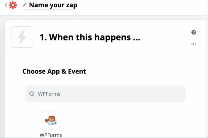 WPForms as the Trigger App in Zapier