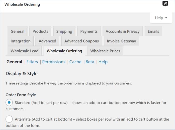 wholesale ordering settings in Wholesale Order Form