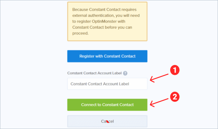 Constant Contact account name lebel in OptinMonster