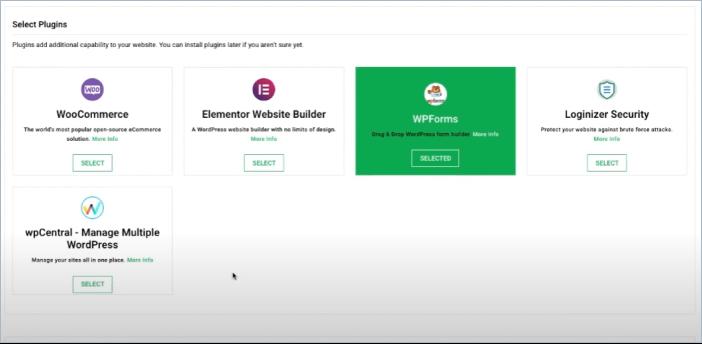 GreenGeeks select plugins widget