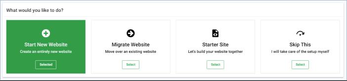 GreenGeeks start a new website widget