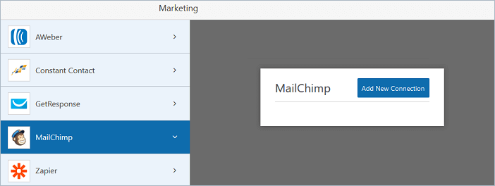 MailChimp Add New Connection button in WPForms