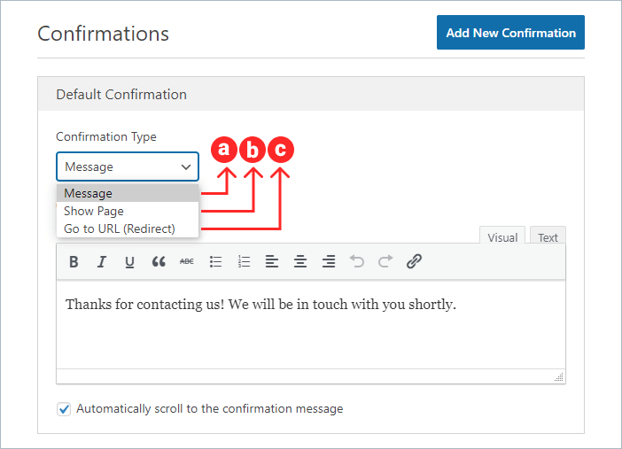 confirmation notification settings in WPForms