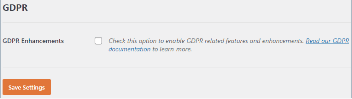 enable GDPR Agreement in WPForms