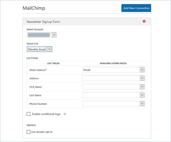 final mailchimp settings in WPForms