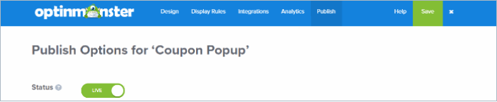 publish popup button in optinmonster