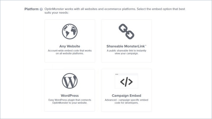 select any CMS for popup option
