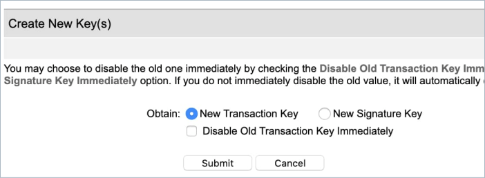 Create new transaction key in Authorize Net account