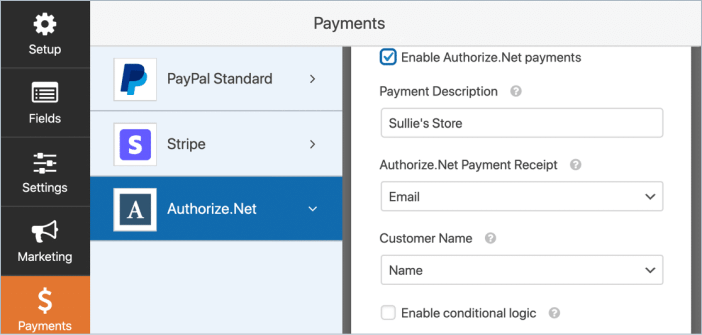 authorize net payment form settings in WPForms