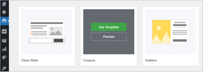 choose template in optinmonster