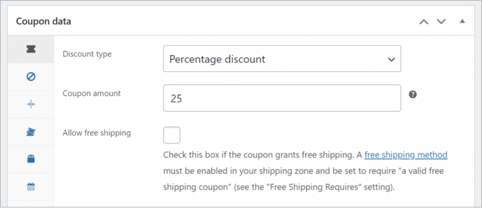percentage discount settings in advanced coupon