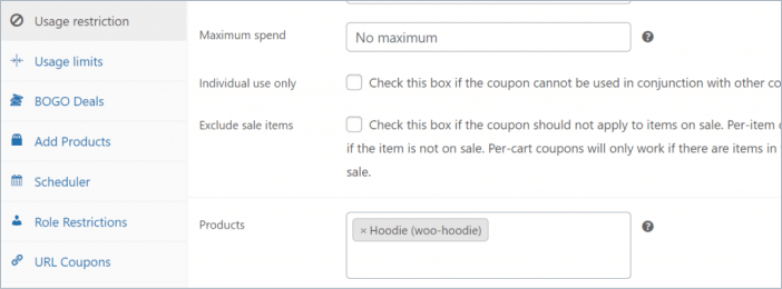 usage restriction settings in advanced coupon