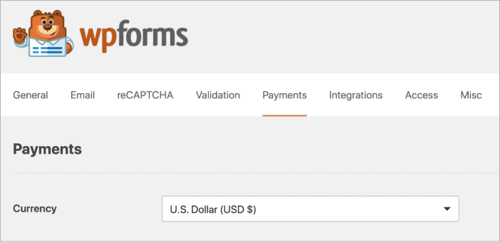 wpforms payment form currency settings