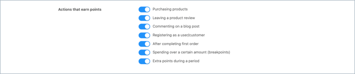 loyalty points earning actions in advanced coupon
